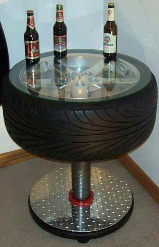 model meja dari ban bekas