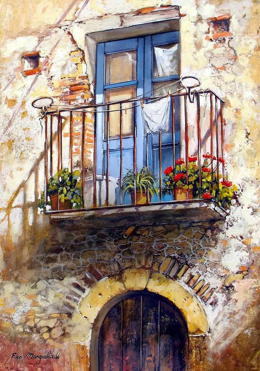 Cuadros modernos pinturas y dibujos - Casas viejas al oleo ...
