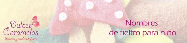 nombres de fieltro para niños dulces caramelos