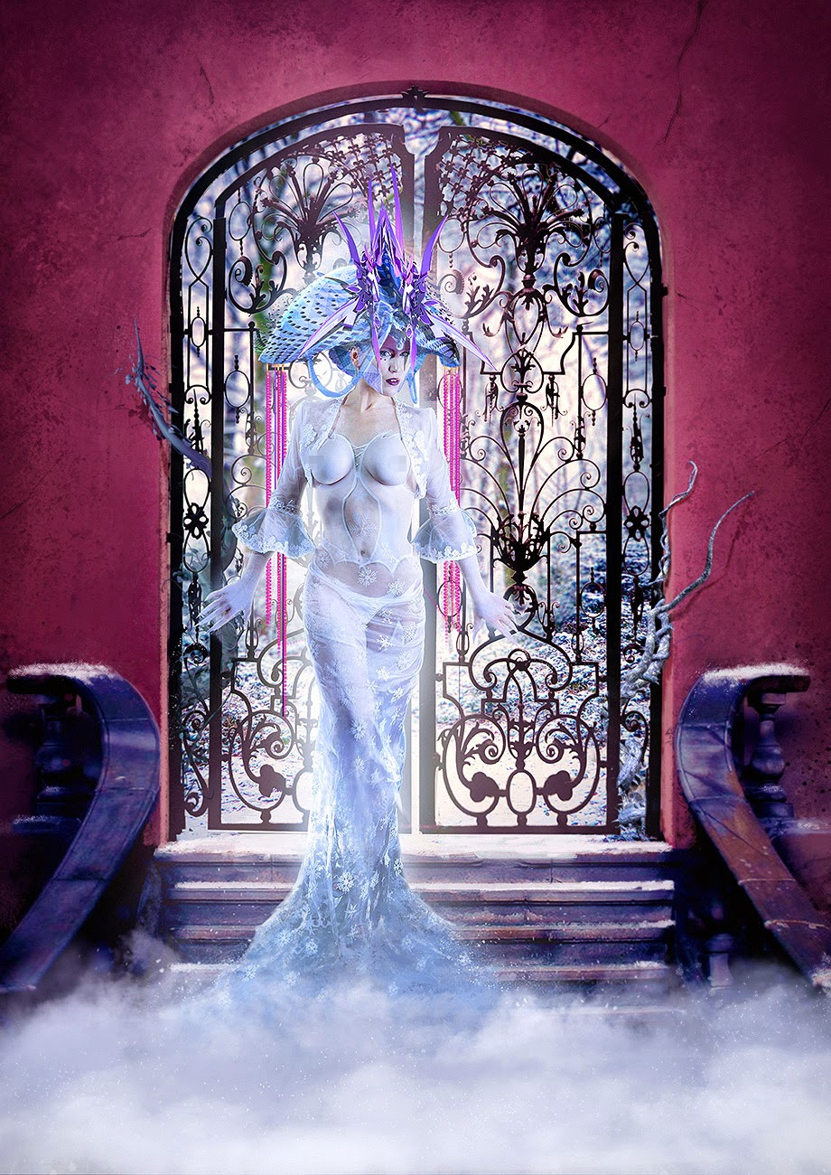 An ice queen standing on a stairway / doorway