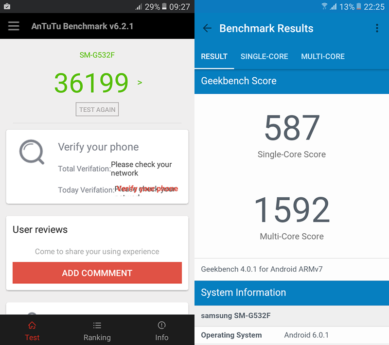 Antutu and Geekbench benchmark scores