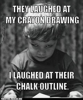 evil child funny picture laughed at their chalk outline