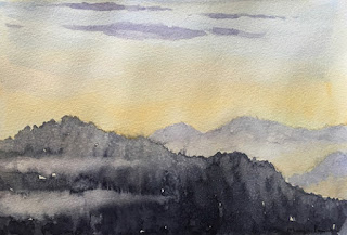 Water colour painting of sunrise scene at Temi Tea Garden