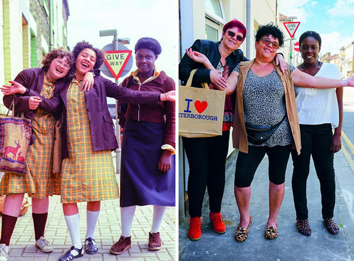 Photographer Recaptures Old Pictures Creating A Beautiful Reunion Of People He Photographed Decades Ago - County School Girls (1979 And 2016)