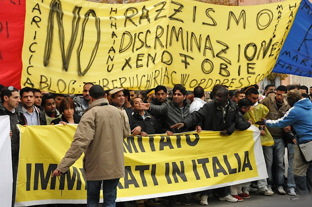 Protest of leftists and immigrants in Brescia, 2010