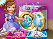 Have a great time playing this new Princess Sofia game called Princess Sofia Laundry Day on GamesGirlGames.com. Learn how to get clean clothes with princess Sofia the First! It's a sunny day, just perfect for laundry so start with separating the white clothes from the colored ones and add detergent into the washing machine. After you've made sure that the clothes are all clean, it's time to let them air dry. Help Sofia iron and fold them in a beautiful stack and they are ready to go in the closet!