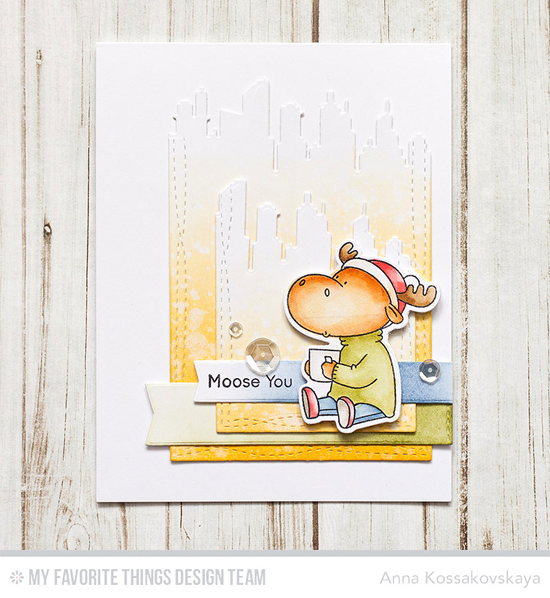 Moose You Card by Anna Kossakovskya featuring the Birdie Brown Merry Christmoose stamp set and Die-namics, and the New York Skyline, Wonky Stitched Rectangle STAX, and Blueprints 27 Die-namics #mftstamps