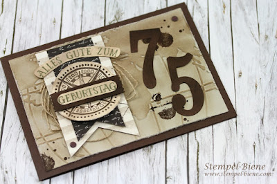 Stampin Up Frühjahrskatalog 2016; Stampin up Meine Welt, Stampin Up Männerkarte; Männerkarte 75. Geburtstag; stampin up liebe ohne grenzen; Stempel-biene
