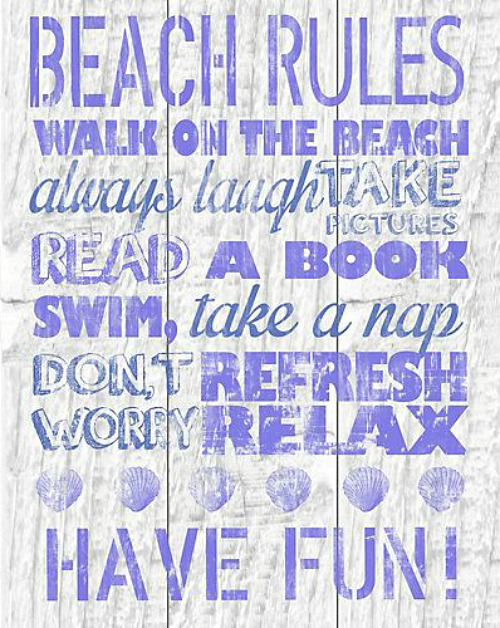 Purple Beach Rules Canvas