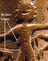The broken edges on the left side of the tiger-grappling hero on Harappan tablet H95-2486