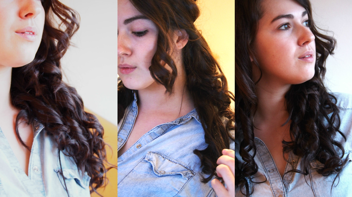 Curly hair extensions on head