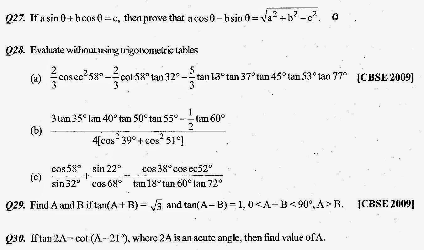 Class X Trigonometry Assignment Sa1 Summer Fields School