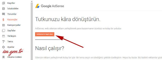 adsense'ye kayıt olun butonu aktif