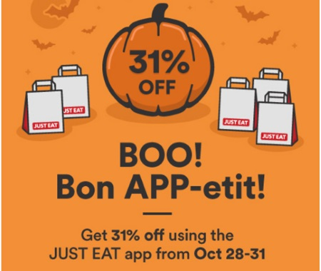 JustEat Halloween 31% Off Promo Code