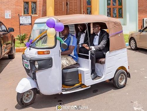 Rich Nigerian Based Abroad Rides Keke To His Wedding
