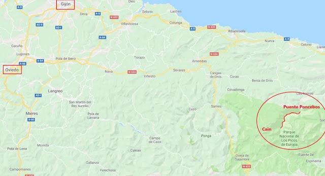 Ubicación de la Senda del Cares en Asturias