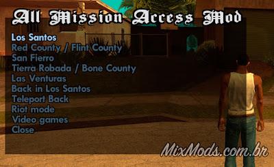 gta sa access all missions mod cleo fazer qualquer missão todas escolher