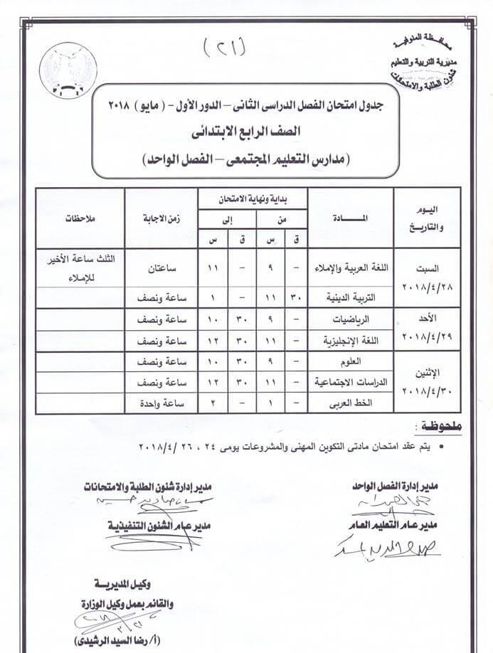 جدول امتحانات الصف الرابع الابتدائي 2018 الترم الثاني محافظة المنوفية