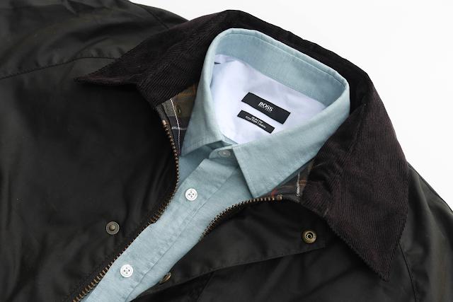 Barbour jacket and Hugo Boss shirt