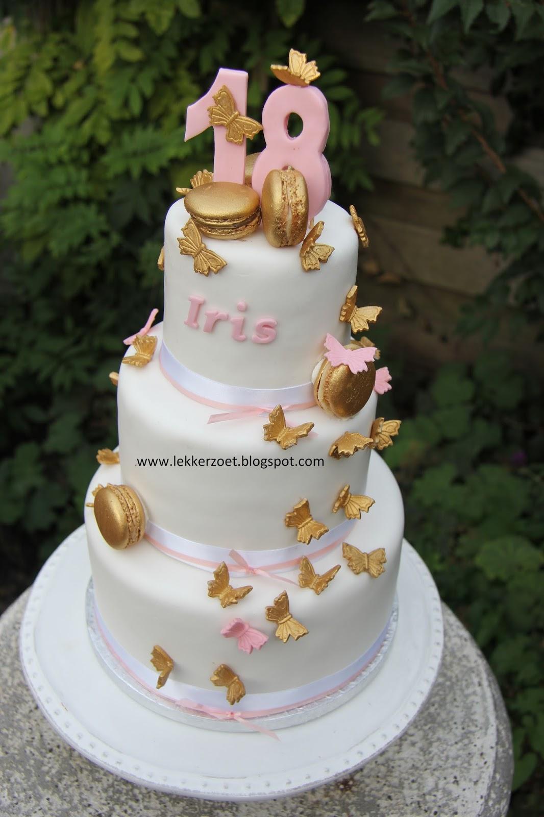 18 jaar taart lekker zoet: 18 jaar  gouden vlinders voor Iris 18 jaar taart