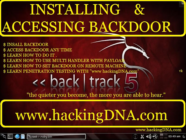 installing and accessing backdoor