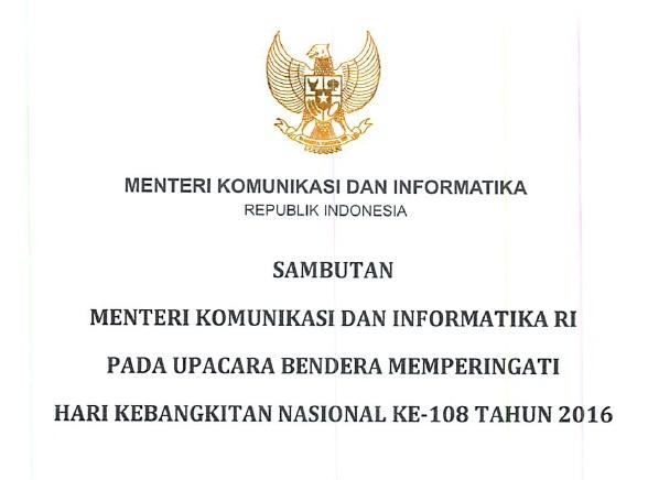 Download Naskah Pidato Sambutan Menteri Kominfo pada Upacara Bendera Peringatan Harkitnas 2016