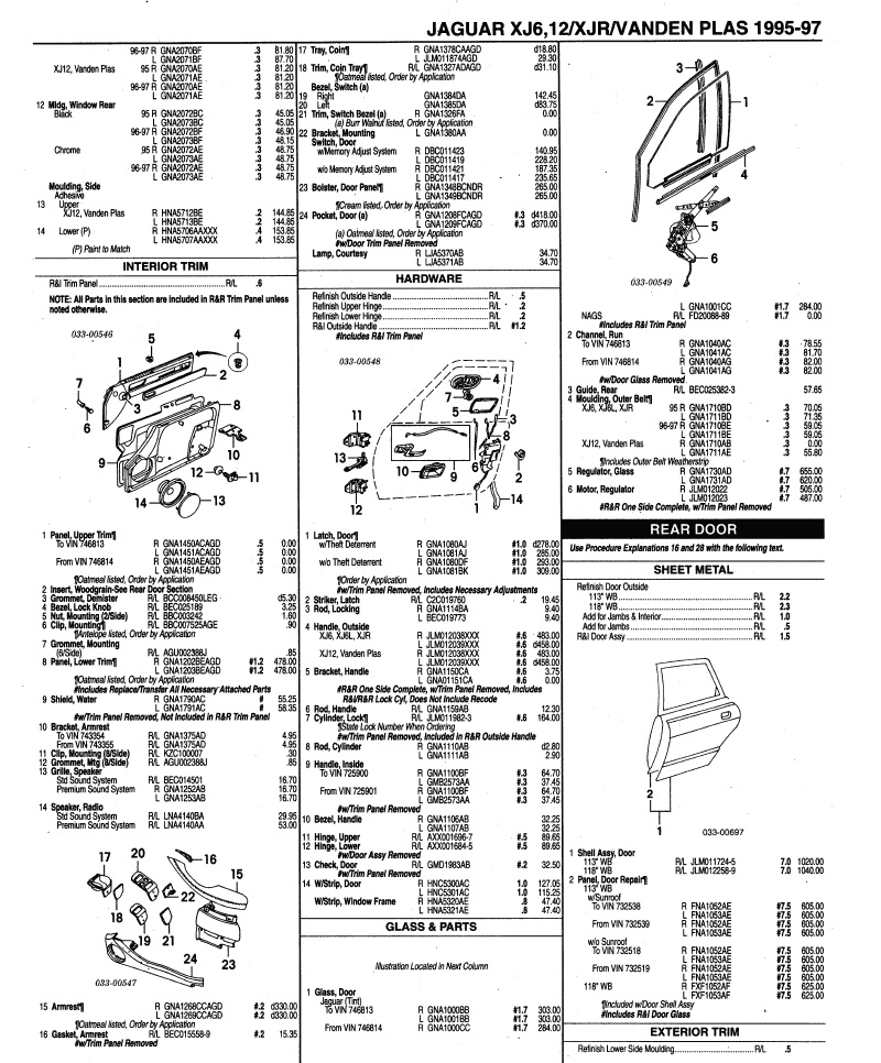 JAGUAR XJ6 X300 1995-1997 door parts list ~ Jaguar Vanden