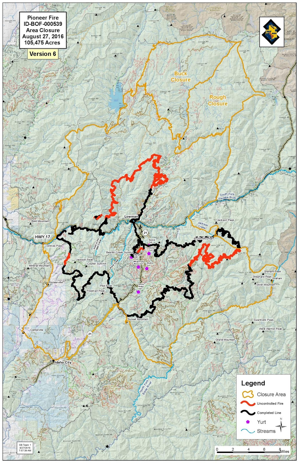 Pioneer Mountains Idaho Map.Idaho Fire Information Pioneer Fire Update For Saturday August 27th