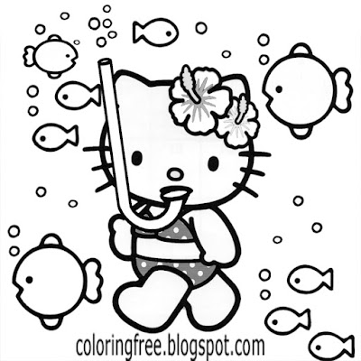 Hello kitty sea coloring representation free cute printables for a teenage young woman to colour in