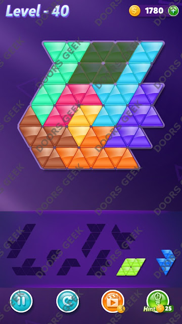 Block! Triangle Puzzle 8 Mania Level 40 Solution, Cheats, Walkthrough for Android, iPhone, iPad and iPod