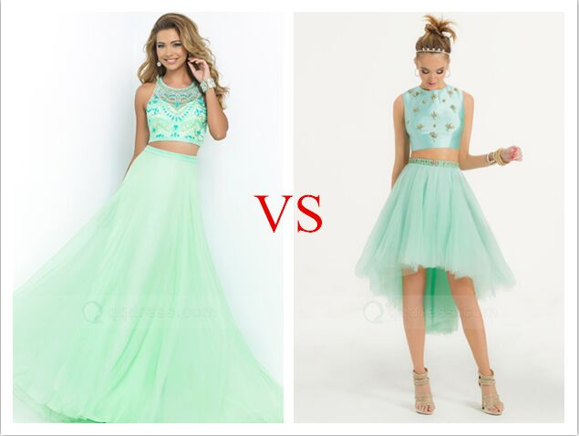 Two Piece Long vs Short Prom Dress - Mint Green