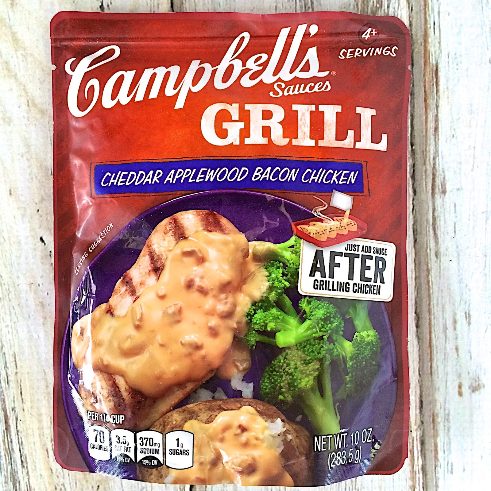 Campbell's Grill Sauces - Just 3 simple steps - season, grill and pour the sauce over the chicken. I don't know about you, but this is definitely my kind of easy weeknight meal! Start to finish in about 15 minutes with no prep-work.