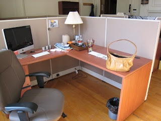 modest office cubicle decoration plus corner table lamp combined with calming brown swivel chair