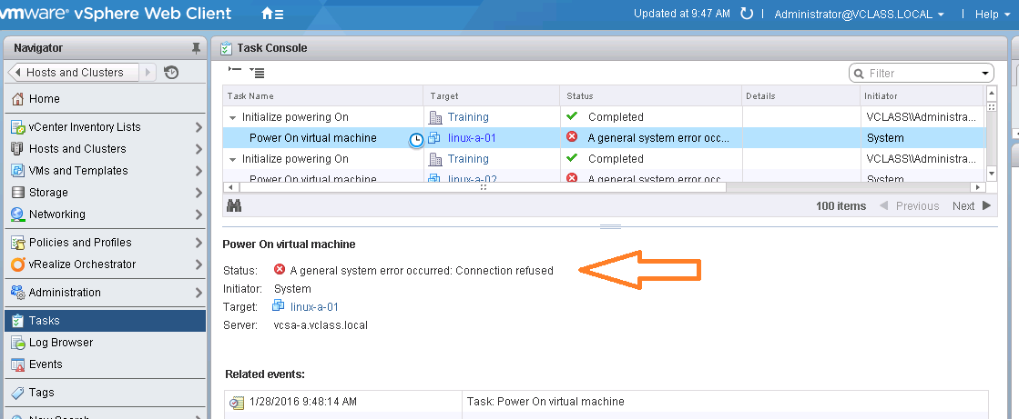 Virtualization The Future: Unable to Power on VM in vCenter