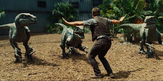 "Chris Pratt attempts to tame velociraptors in ""Jurassic World"""