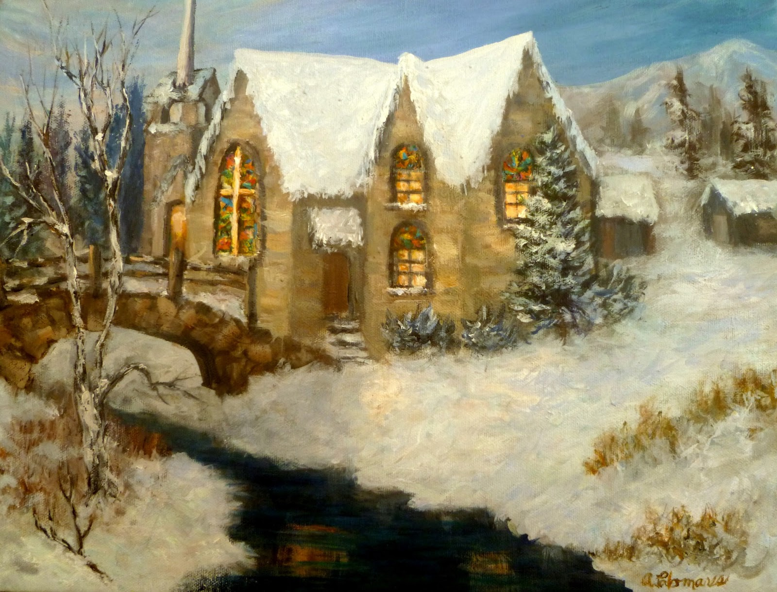 Snow Church Painting Amber Palomares Fine Art