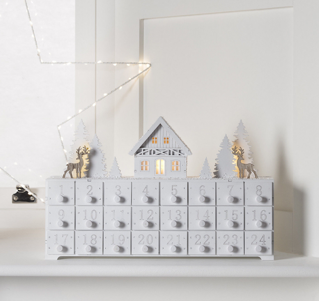 Rustic, white, wooden advent calendar, LED lights, deer, trees