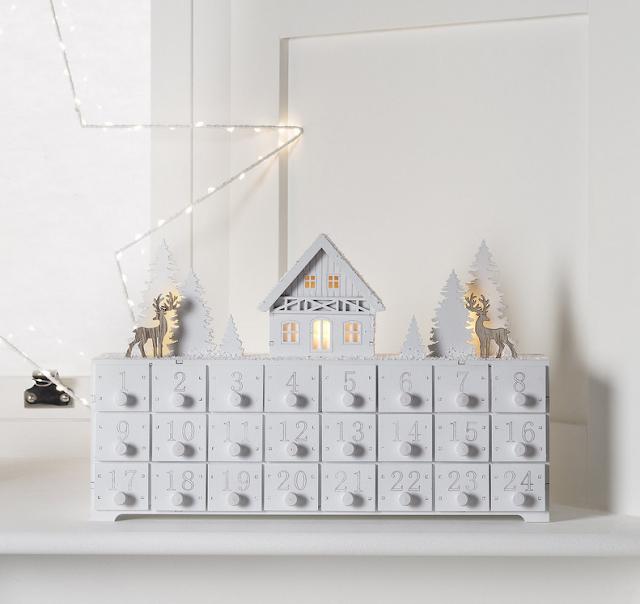 Rustic, white, wooden advent calendar, LED lights, deer, trees