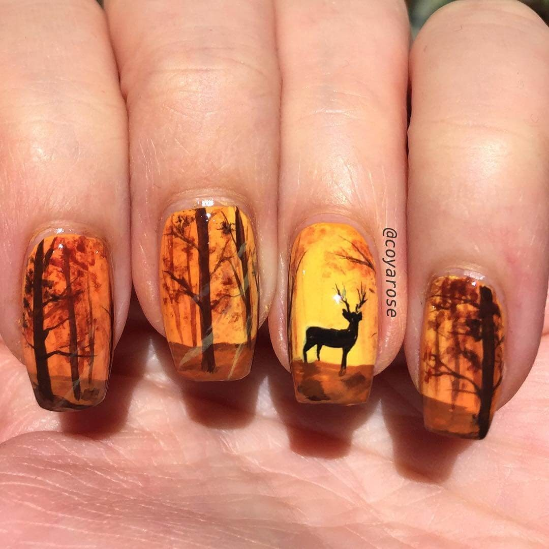 06-Forest-Walks-in-the-Fall-Nicoya-Grobman-Free-Hand-Nail-Art-Designs-www-designstack-co