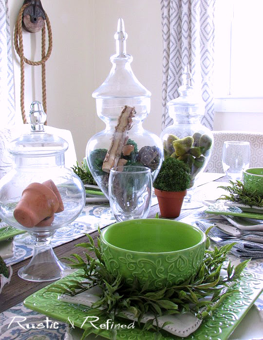 Blue ad green table setting for seasonal decor