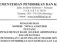 Pengumuman Hasil Seleksi Administrasi Penerimaan CPNS Kementerian Pendidikan dan Kebudayaan Tahun 2018