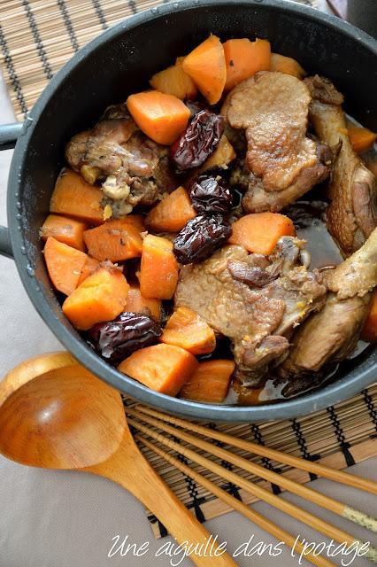 Canard aux patates douces et jujubes cuisine asiatique