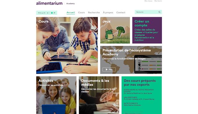 interface pedagogique sur l'alimentation gratuite cours vidéos quiz