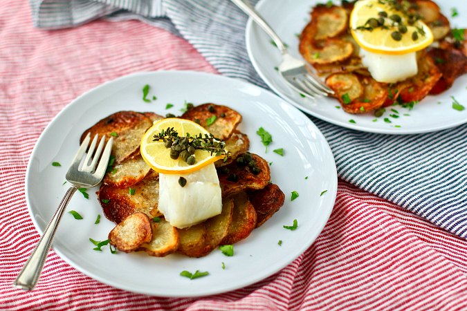 Cod on Crispy Garlicky Potato Rafts sheet pan dinner