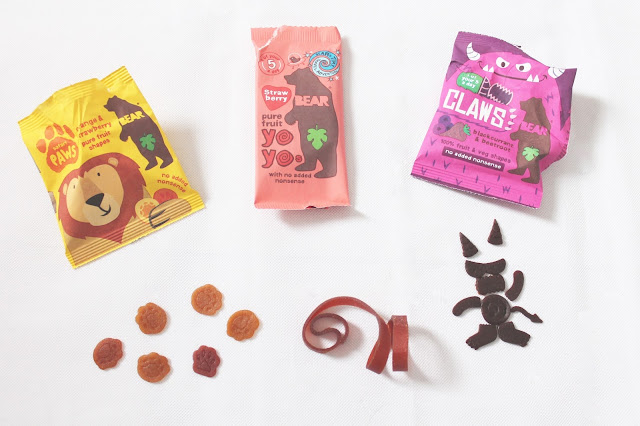 Bear snacks in paw shapes yoyo shape and monster shapes, build your own monster with healthy children's fruit & veg snacks