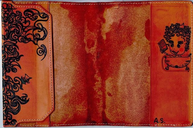 ブックカバー(革):希望と夢は空へ / Book cover (leather) :Hopes and dreams gather in the sky.