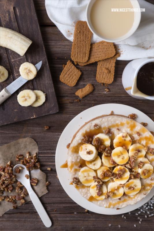 Rezept für Milchreistorte mit Bananensaft, Pecannüssen und Karamell