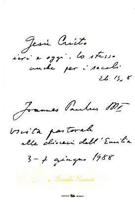 Retro dell'immaginetta di Giovanni Paolo II con dedica