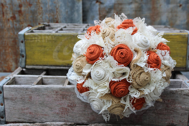 rustic burlap wedding flowers in burnt orange, tan, and white