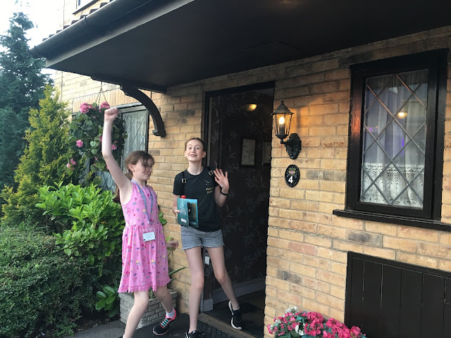 Steph's Two Girls in front of Privet Drive